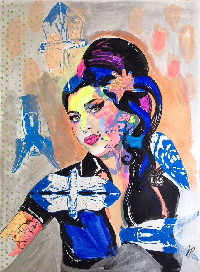 Amy Winehouse / acrylic, ink on paper / 63x88cm