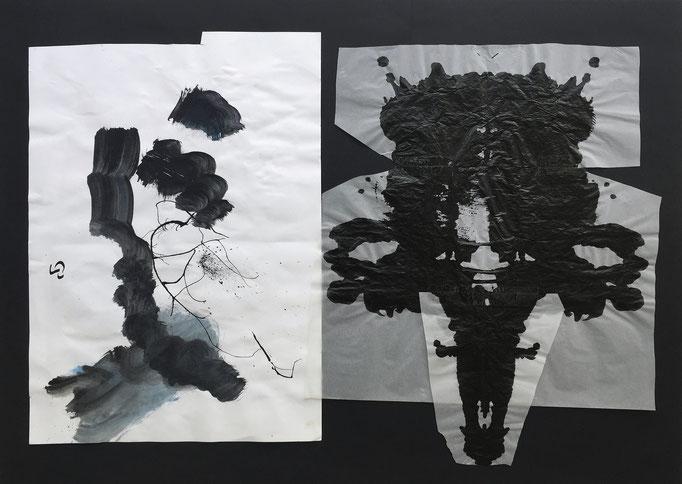 Ink mask 2 / collage, ink / 70x50cm