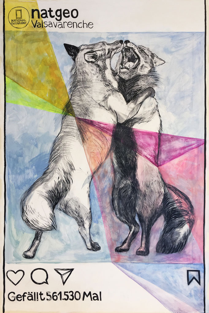NG Foxes / pencil, ink, acrylic on cardboard / 125x190cm