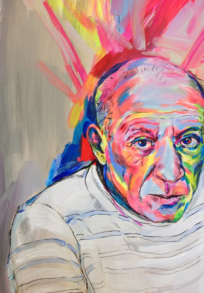 Pablo Picasso / acrylic, ink on canvas / 60x80cm