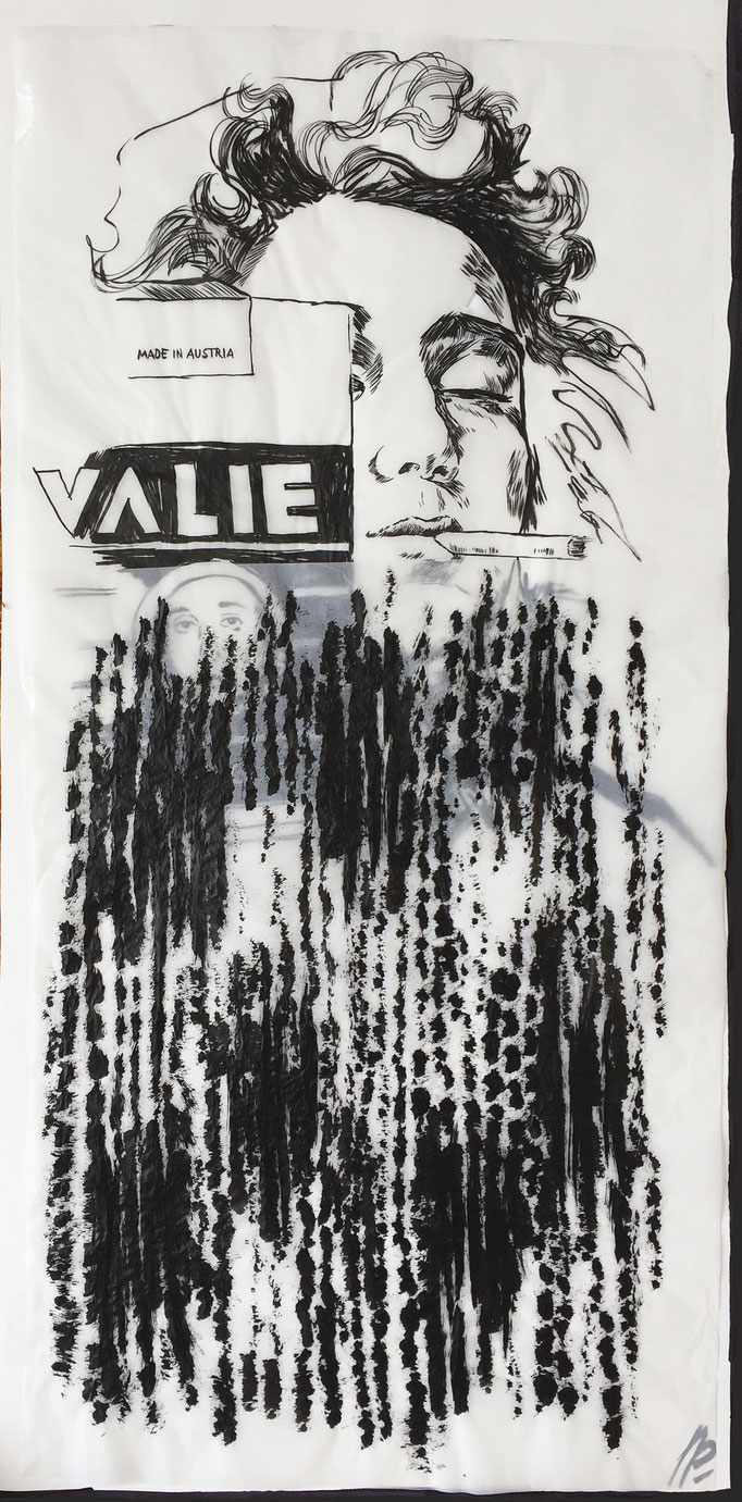 The Export cigarettes box of smokey Valie / collage, ink / 48x98cm