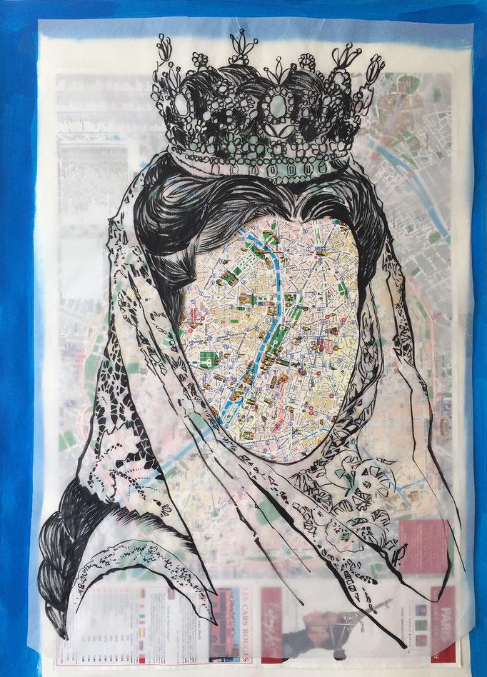 Romy in Paris / collage, ink / 50x70cm