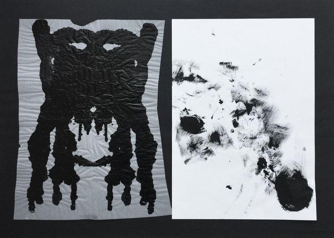 Ink mask 2 / collage, ink / 70x50cm (with Niko Naydenov)