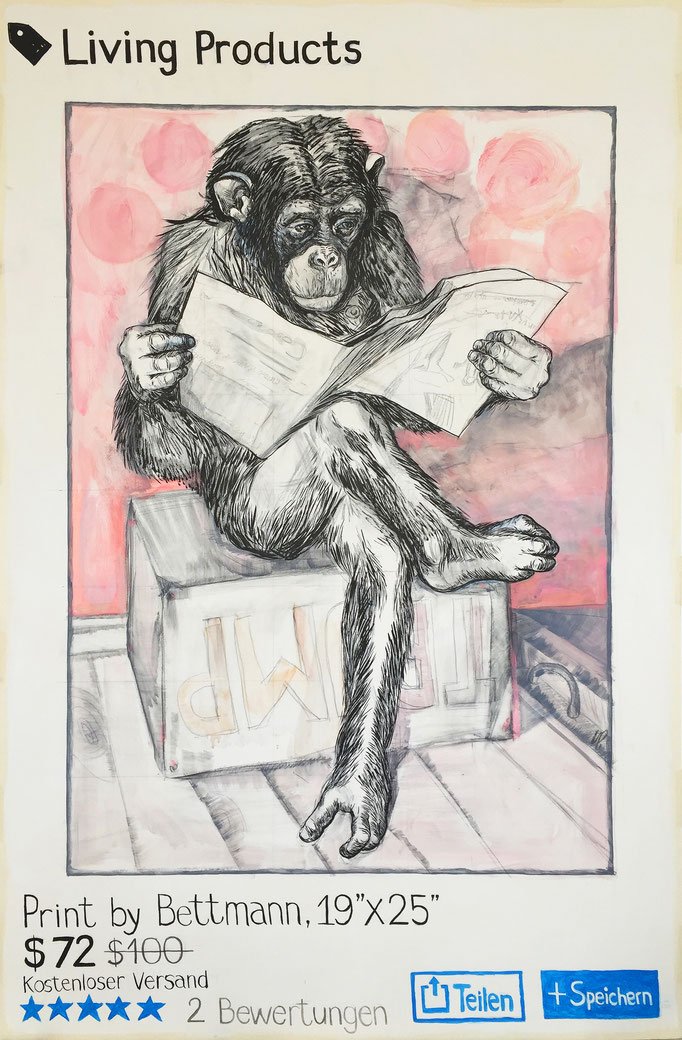 Bettmann´s Chimp / pencil, ink, acrylic on cardboard / 125x190cm