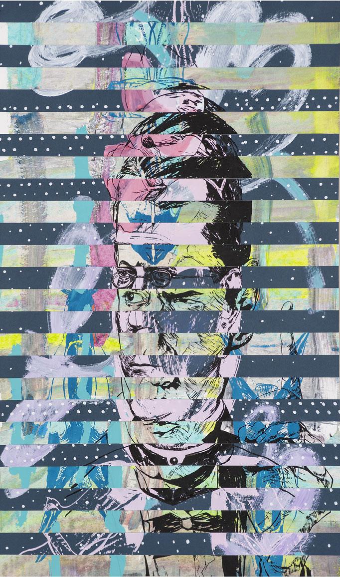 Gregor Falco - collage / acrylic, silk-screen prints / 60,7x102cm