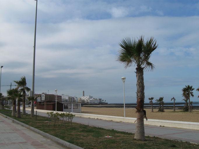 Promenade in Chipiona, war früher ein Parkplatz, wo man sehr schön übernachten konnte
