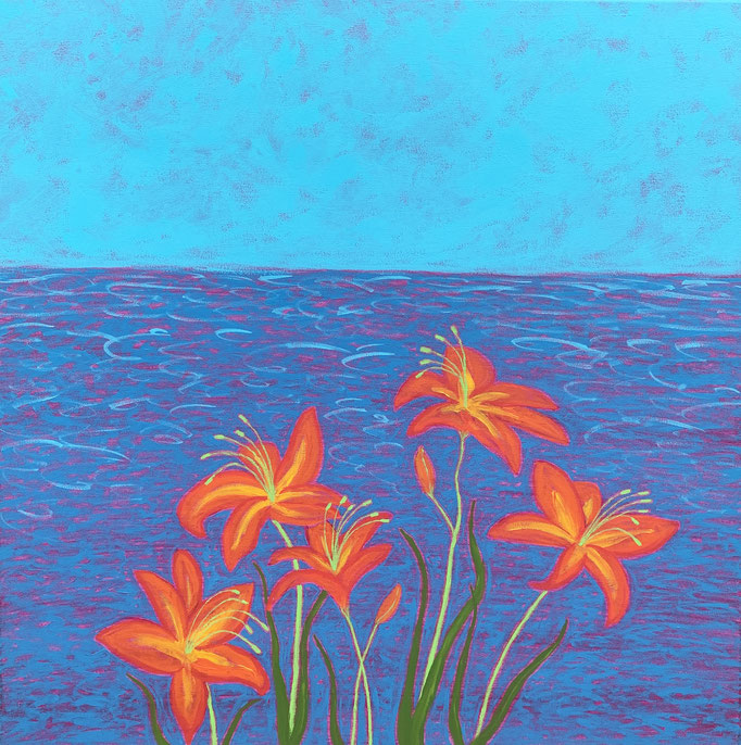 """Lilies by the Lake, 30"""" x 30,"""" acrylics on canvas"""