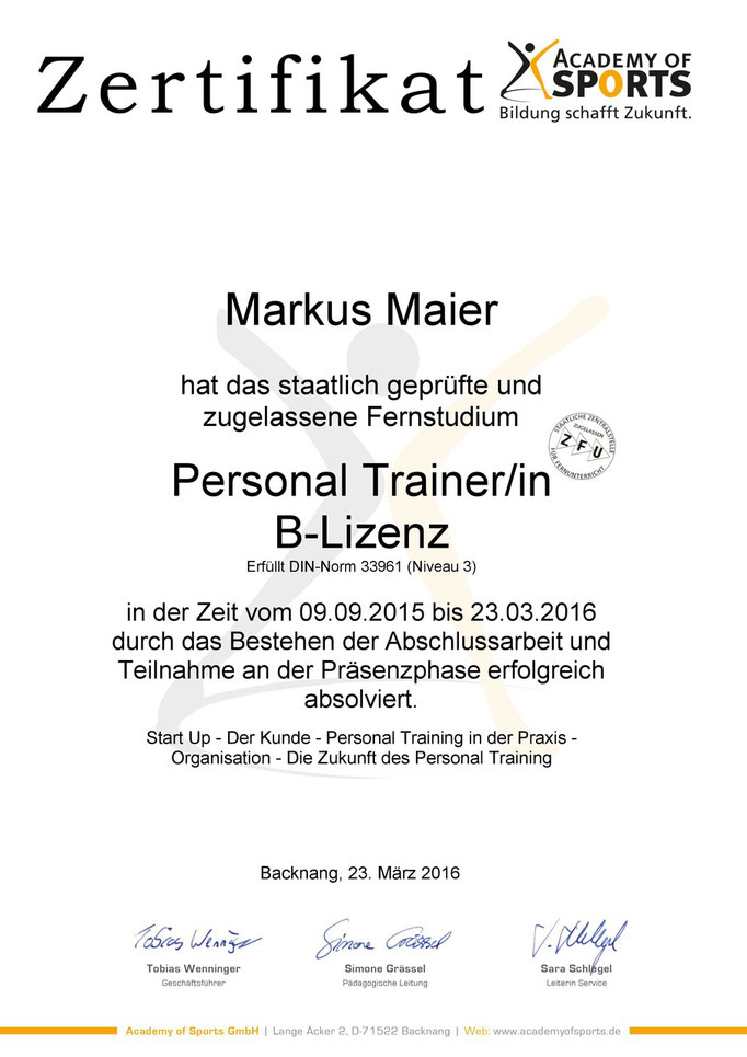 Zertifikat Personal Trainer