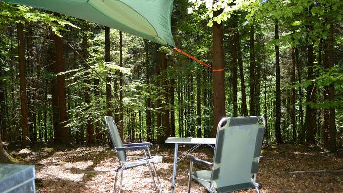Baumzelt mit Tisch und Stuhl.