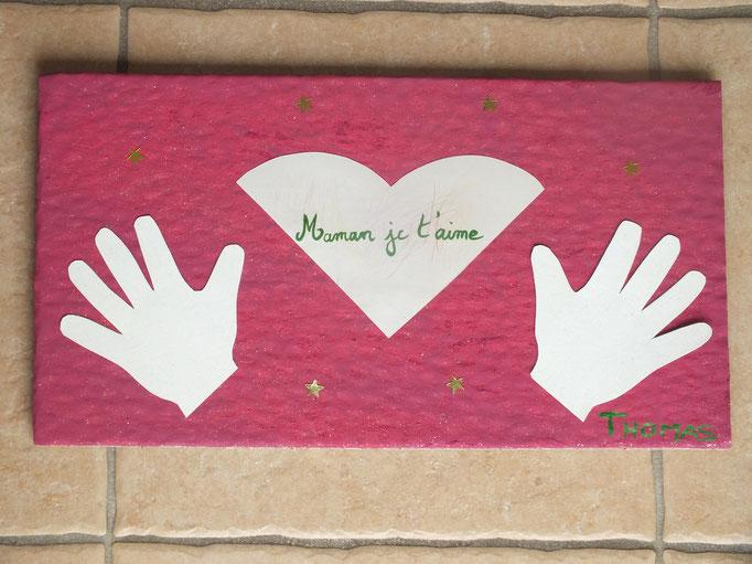 tableau fête des mères avec empreintes de mains
