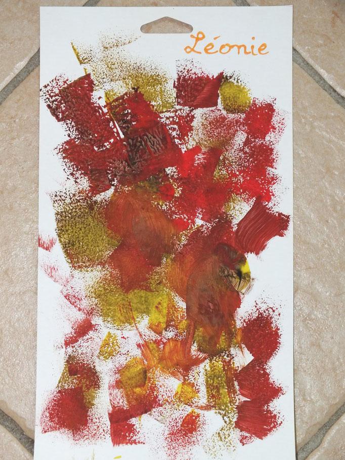 """peinture aux couleurs de l'automne, avec un tampon """"maison"""" : une bande de mousse rectangulaire"""