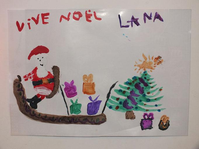 dessin de Noêl fait par enfant de 8 ans en peinture