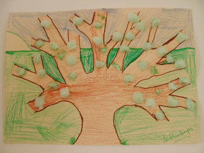 """arbre préparé au feutre, coloriage pastel et collage """"Playmaïs"""" pour les bourgeons"""