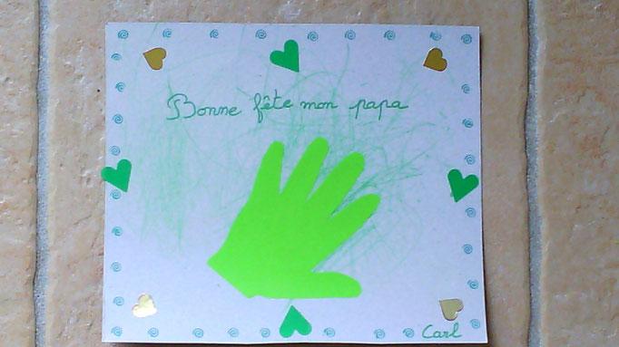 tableau pour la fête des pères avec empreinte de main