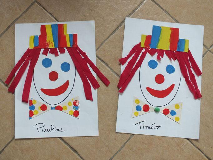 tête de clown pour Mardi gras : formes en carton à faire peindre par l'enfant, à découper, puis à coller sur grande feuille avec des cheveux en papier crépon