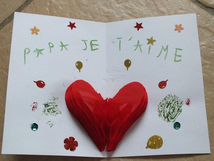 """Pour la Fête des Pères : carte intérieur avec papier """"spécial volume"""" à découper puis à coller dans la pliure"""
