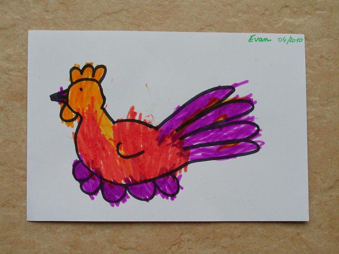 coloriage au feutre d'une poule de Pâques