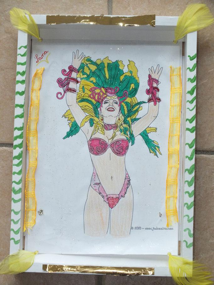 dessin de danseuse de carnaval, pour les plus grands, mis dans une boîte de chocolats pour faire un cadre