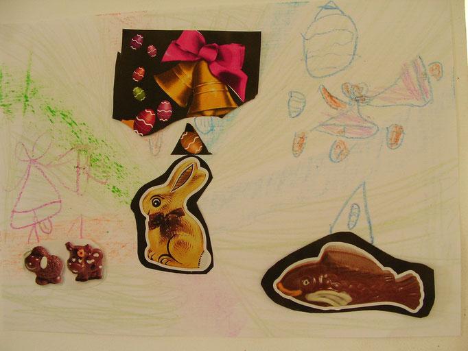 dessin en craie grasse, collage images de Pâques de magazines