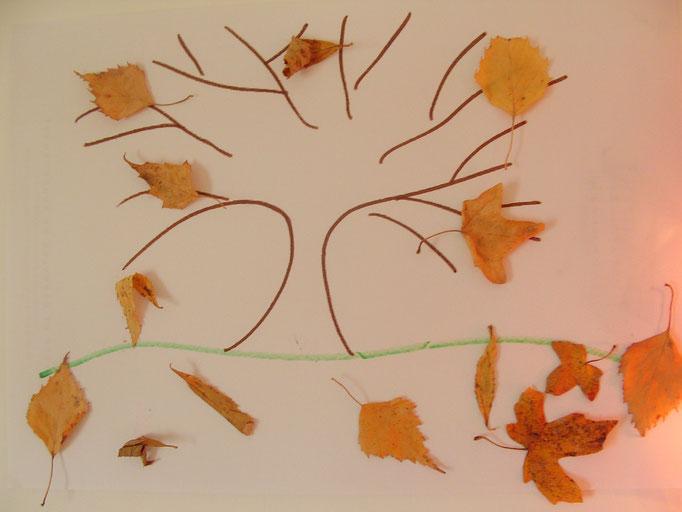 collage feuilles sèches sur dessin préparé