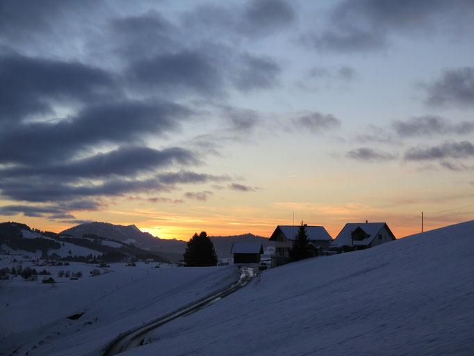 Sonnenuntergang Chörnlisegg mit Rigiblick