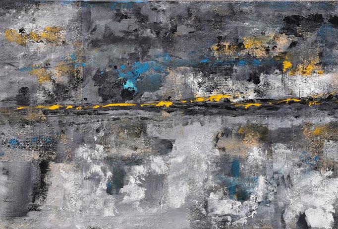 Dämmerung, 60 x 90 cm; Mischtechnik auf Leinen, 2010