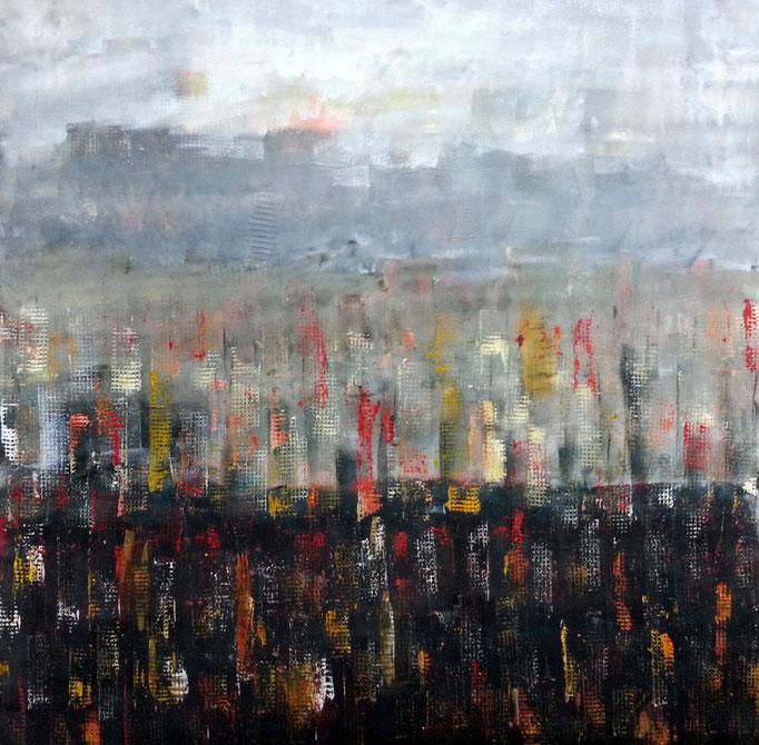 Die Stadt, 80 x 80 cm; Mischtechnik auf Leinen, 2006