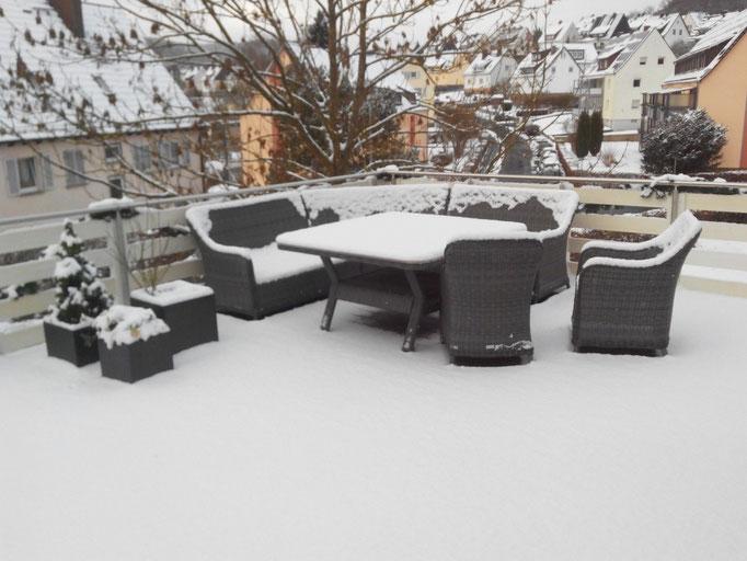 Ferienwohnung Herborn Terrasse im Winter