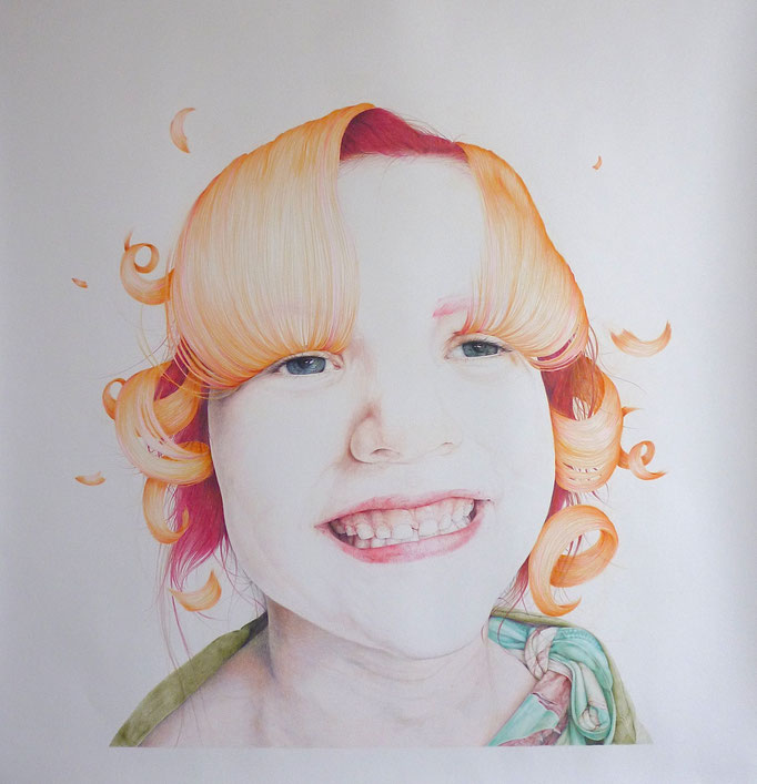 Happy ever after (2016), color pencil on paper, 120 x 120 cm
