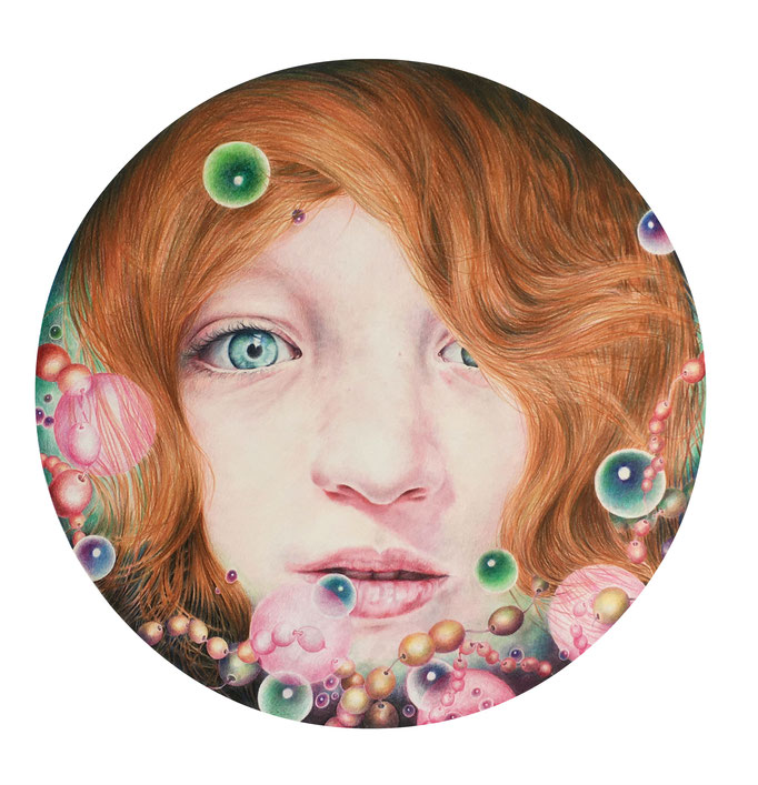 The magis of things (2020), panpastel and colored pencil on paper, 50 x 50 cm