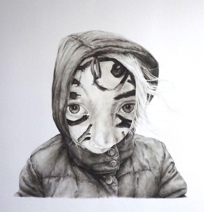 The hideout (2017),panpastel on paper, 70 x 70 cm
