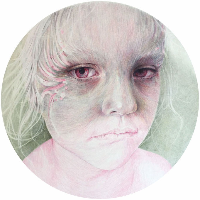 Sorrow (2017), color pencil on paper, diameter 64 cm