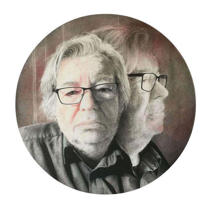 Maarten (2019), panpastel and color pencil on paper. Portrait of Maarten van Rossem for the Dutch TV Show Sterren op het doek.