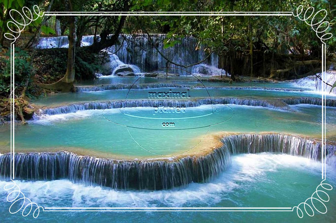 Sanft fließt das Wasser am Kuang Si Wasserfall