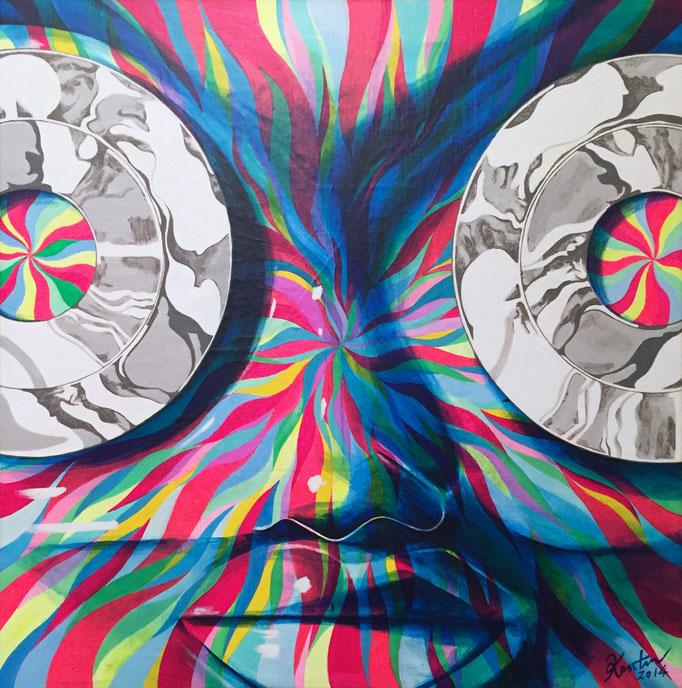 ウネリのウネリ455x455x40mm / acrylic on canvas / 2013
