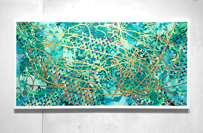 GOLDLINE 920x472x45mm / acrylic on canvas / 2018