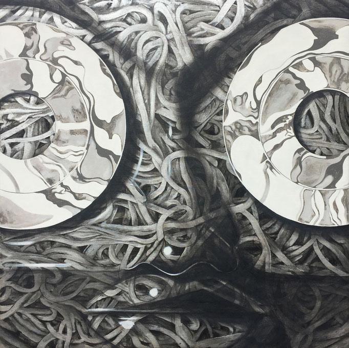 銀の蕎麦 540x540x40mm / acrylic on canvas / 2016
