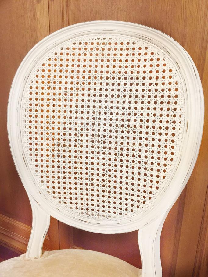 silla rejilla blanca