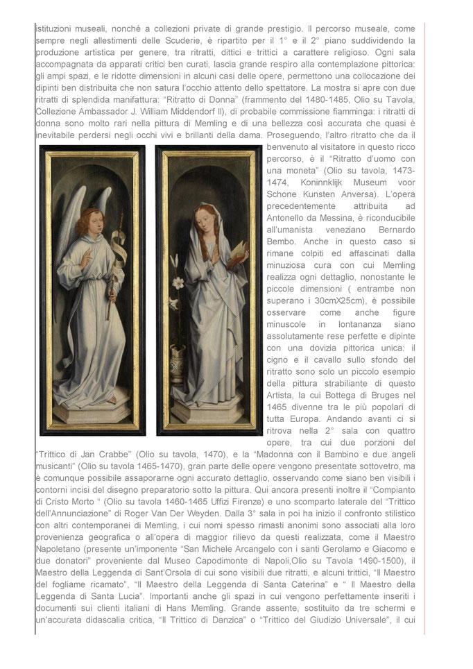 """Mostra Romana di Hans Memling & il Rinascimento Fiammingo"""" a cura della Dott.ssa Tamara Follesa"""