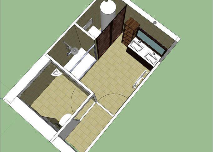 Albertus rénovation création salle de bain prunières modélisation 3D