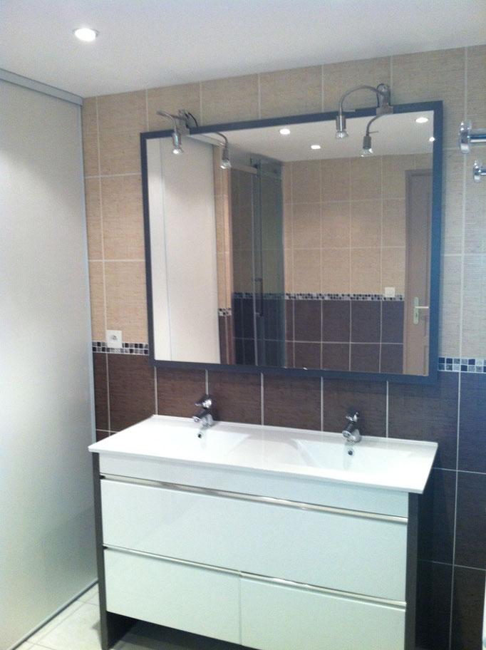Albertus rénovation création salle de bain prunières Installation plan vasque après travaux