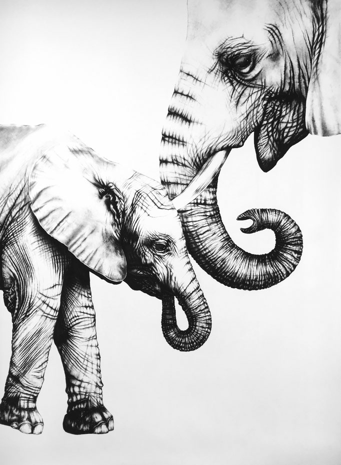 Moederliefde   2017    1.5 x 1m   Charcoal on Fabriano-paper   On Exhibition at Kunst in Spreitenbach, 9 Feb - 23 March ***