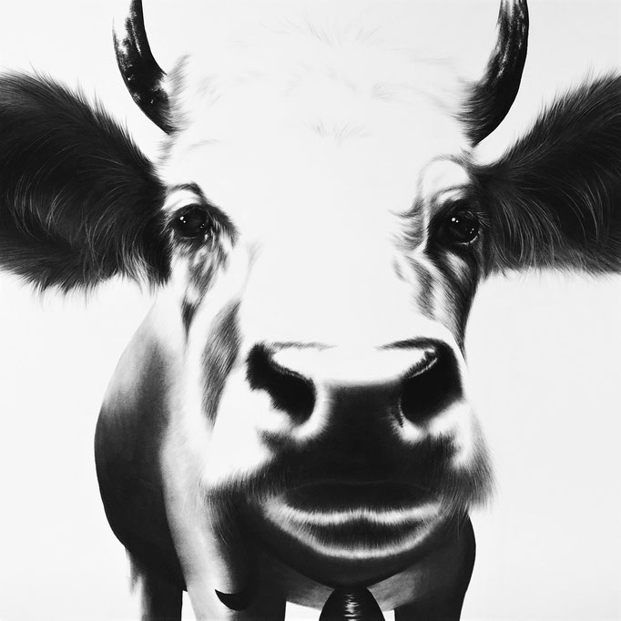 Sweet Swiss Cow | 2015 | 60 x 60cm | Charcoal on Fabriano-papier | Current Location: Baden, Switzerland*