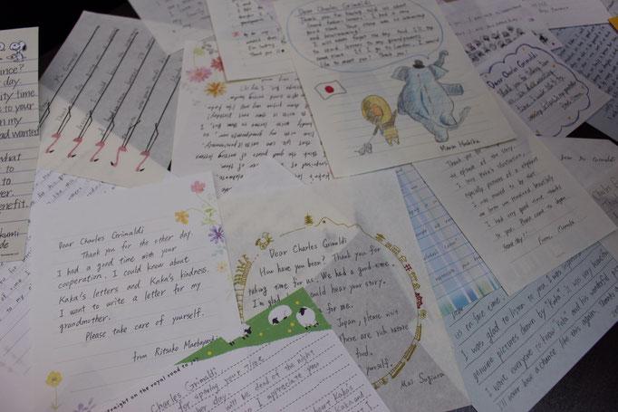 グランドファザーズレター   徳島市立高等学校の生徒たちからの絵手紙