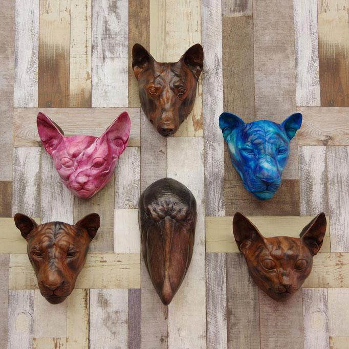 FRP Animal Mask 動物の面壁掛け