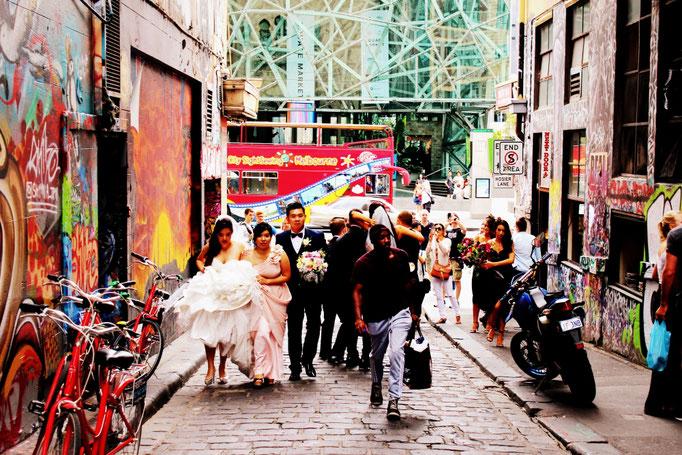 Hochzeitsfotos in der Hosier Lane Melbourne