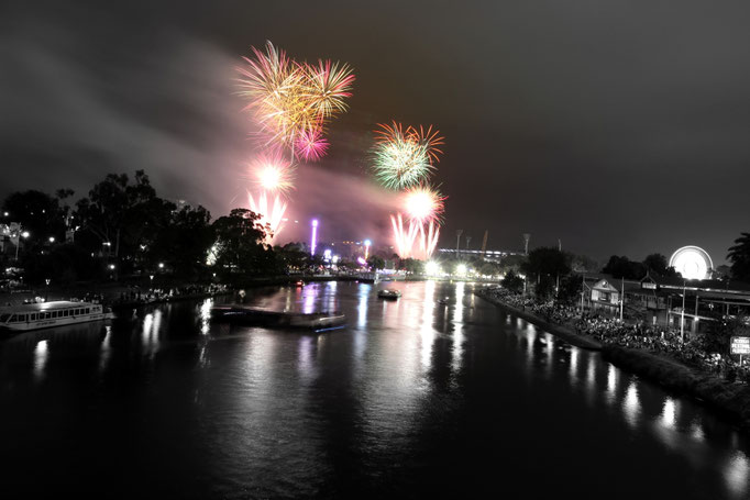 Moomba Festival mit Feuerwerk, Melbourne