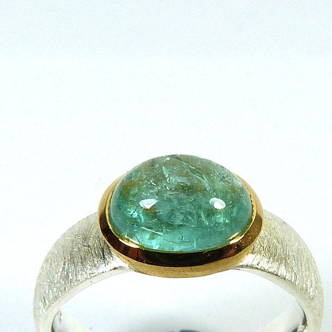 Ring Silber Gold Smaragd