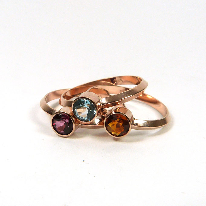 COCTAIL Ringe 585 Rotgold Topas Rhodolith Citrin