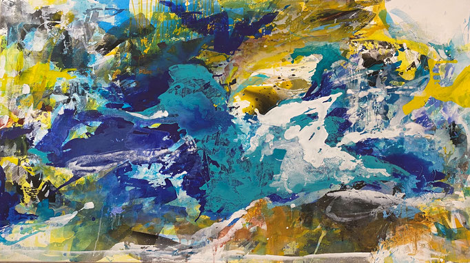 """""""Forms of land, water and air II"""" 200x100 cm Acryl, oil and pigments auf Leinwand"""